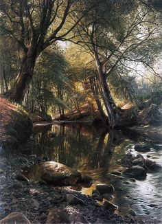 Peder Mork Monsted (Peter Mark Monsted) was born in 1859 in Balle near Ganaa, eastern Denmark.  He was a Danish realist painter, his landscapes were renowned for the clarity of light common to the artists of that day and age.