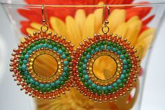 Mexican Breeze Paradise Seed Bead Hoop Earrings by createdbycarla, $25.99