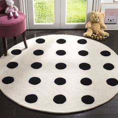 Claro Polka Dots Hand-Tufted Ivory/Black Area Rug