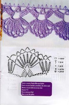 Eliana Pintura e Crochê: barrados de crochê com gráficos