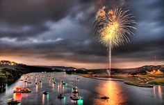 Fireworks on the lake in Austin, Texas