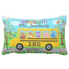 Teacher Thank You Custom Name | Cute Bus Animals Lumbar Pillow