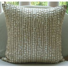 Beige Cotton Linen 18X18 Allover Mother Of Pearls Pillows Cover - Purely Pearls