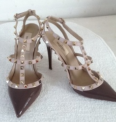Valentino Studded Rockstud Pumps Stiletto Slingback Shoes In Taupe 37 W/ Receipt