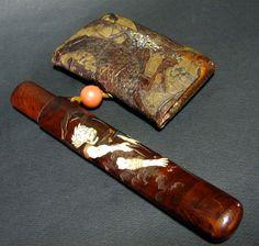 De combustión de entrada tabaco para pipa Fujin Raijin <> Zaimei los bienes no utilizados Shibayama Makie Kintokaku   compra de este tipo de antigüedades, juegos de té, de venta de antigüedades Yakata [Kioto]