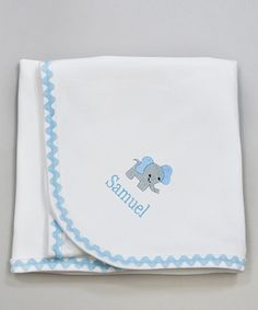 Take a look at this White & Light Blue Elephant Personalized Stroller Blanket by Princess Linens Layette on #zulily today!