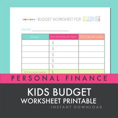 Free Printable KidS Budget Worksheet Blue For Boys And Pink For