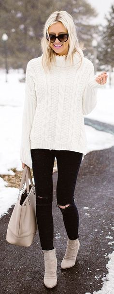 #winter #fashion /  White Turtleneck / Black Ripped Skinny Jeans / Grey Suede Booties / Cream Leather Tote Bag