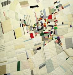 """Oberg White"" quilt by Ian Hundley. Part of his series of cartographic quilts."