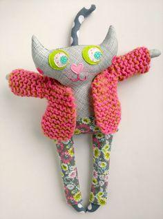 Cat doll Stuffed cat Fabric cat art doll Plush by sparrowandberry