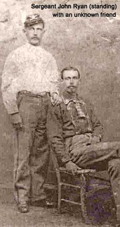 Sergeant John Ryan of the Seventh Cavalry, standing with an unknown friend