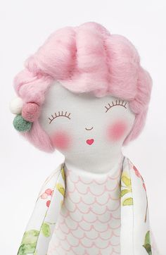 Beautiful Heirloom Doll with pink Merino wool