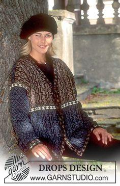 Ruutukuvioinen DROPS jakku Silke-tweed -langasta