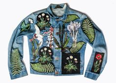 """Embroidered botanical patches created for Sarah Mowers pop up shop in the Theatre of Fashion Garden, at the Port Eliot Festival """" Ellie And Mac Patterns, Cycle Chic, Refashion, Retro Fashion, Patches, Bomber Jacket, My Style, Retro Style, How To Wear"""