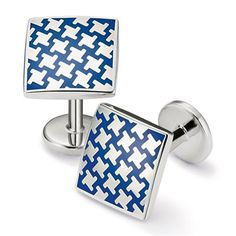 Enamel royal puppytooth square cuff links | Men's cuff links from Charles Tyrwhitt