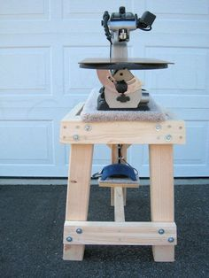 Scrollsaw Workshop: Home made scroll saw stand by Kenneth Van Winkle.