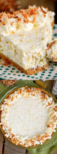 If you like drinking pina coladas, then you're really going to LOVE this No-Bake Pina Colada Cream Pie from Mom on Timeout! It's absolutely the EASIEST pie to make and it really tastes amazing! 13 Desserts, Delicious Desserts, Dessert Recipes, Yummy Food, Baking Desserts, Lemon Desserts, Plated Desserts, Easy Pie, Sweet Pie