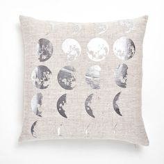 Lucky Fish Moon Phase Pillow ($108) ❤ liked on Polyvore featuring home, home decor, throw pillows, metallic throw pillows, moon home decor and linen throw pillows