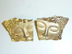 Vintage JJ Jonette Jewelry Earrings Asian by labaublesandbags, $14.00