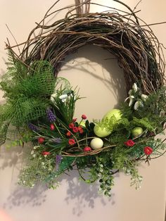 Holiday Wreaths, Holiday Decor, Grapevine Wreath, Spring, Flower Arrangements, Diy And Crafts, Easter, Flowers, Eggs