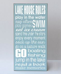 Another great find on #zulily! Blue 'Lake House Rules' Wall Art #zulilyfinds
