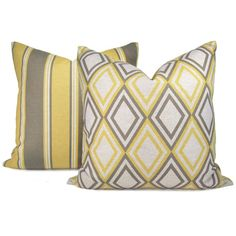Gray and Yellow pillow covers
