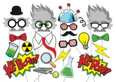 Mad scientist Party Props Set - 23 Piece PRINTABLE - Little scientist Party Photo Booth Props on Etsy