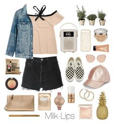 """Golden"" by milk-lips ❤ liked on Polyvore featuring RE/DONE, Madewell, Vans, Topshop, Skultuna, Christian Dior, Benefit, Olivia Burton, Lapcos and MICHAEL Michael Kors"