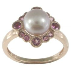 Rose Gold Round Pink Freshwater Cultured Pearl, Pink Tourmaline Ring