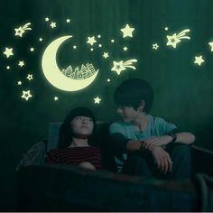 Glow Glass stickers fluorescence Meteor STAR moon permanent luminous children room dormitory decoration FAST RECEIVE 10 COLOR DA