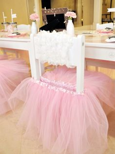 Pink Slippers and Tutus-It's a Ballerina Party! Lovely Events - Pink Slippers and Tutus-It's a Ballerina Party! Lovely Events Decorate little girl chairs with tutus. This would be cute for a little girl's tea party. Girls Tea Party, Princess Tea Party, Princess Birthday, Princess Chair, Girl Birthday, Birthday Crowns, Girl Parties, Tea Parties, Princess Room