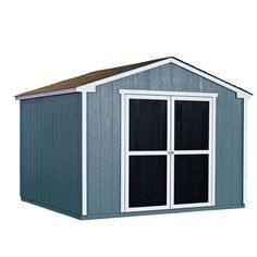 Handy Home Products Installed Princeton 10 ft. x 10 ft. Wood Storage Shed with Driftwood Shingles at The Home Depot - Mobile Storage Shed Kits, Wood Storage Sheds, Outdoor Storage Sheds, Wooden Sheds, Built In Storage, Small Storage, Outdoor Sheds, Storage Ideas, Cheap Storage Sheds