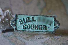 Home Decor Cast Iron BS Corner Sign  by ByTheSeashoreDecor on Etsy