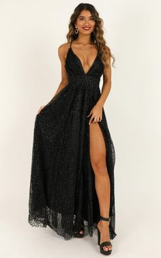 Complete your look with the Lady Godiva Dress In Black Glitter from Showpo! Buy now, wear tomorrow with easy returns available. Homecoming Dresses Long, Pretty Prom Dresses, Gala Dresses, Black Wedding Dresses, Dance Dresses, Beautiful Dresses, Black Hoco Dresses, Prom Dresses For Girls, Diy Prom Dresses