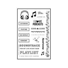 Document what you're listening to with this February kit! Kit includes:One 4×6 photopolymer stamp setOne 6x8 gray alphabet sticker sheetSixteen 3×4 double sided