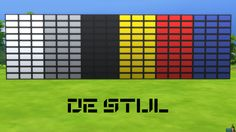 De Stijl Wall Panels (Small) #6 for #TheSims4  http://www.simsnetwork.com/downloads/the-sims-4/build/de-stijl-wall-panels-small-6