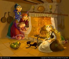 Cinderella by the fireplace. Wonderfull cartoon!!  I really love this child friendly illustration