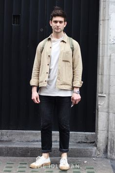 Men's street style | Desert Hues - Rock this look with a matching jacket and shoe combo in the colour stone over a simple outfit of black jeans and a white t-shirt. | Shop the look at The Idle Man