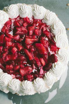 Roasted Strawberry Rhubarb Ice Cream Cake
