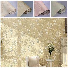 ARUHE Vliestapete 3D Relief Mustertapete an Blumen Tapeten f�r Wohnzimmer, Schlafzimmer 10M x 55CM Gelb