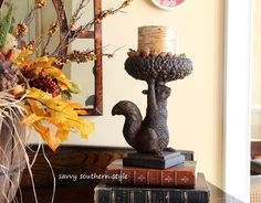 Tour the cottage - Thanksgiving Fall Table Centerpiece Decor - Fall-Thanksgiving-Mantel-Decor-Table-Centerpiece Fall Table Centerpieces, Table Decorations, Bountiful Baskets, Squirrel Girl, Savvy Southern Style, Decorative Accessories, Fall Decor, Candle Holders, Candles