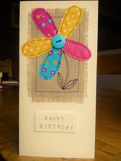 Hand made machine sewn flower birthday card made with Moda fabrics, burlap & a button