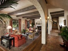 Flooring, Arches, & Beams.  Stucco walls? **************** For Sale: A French Country Estate in Montecito, California