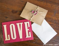 """Spell out words with wood die cuts, like we did with """"Cards"""" and """"Love"""", to make them pop."""