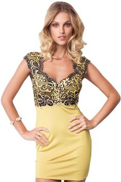 I have always loved the combination of gold and black  Metallic Cap Sleeves Lace Fitted General Print Bandage Dress/Mini Dress
