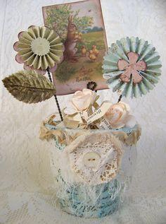 Handmade Easter Decoration Spring Rosette Flower Pot by QueenBe