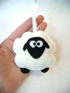 Sheep ornament by Jacky Riotto - for use on baby mobile or Christmas ornament (also find similar cow & jesus in manger etc etc)