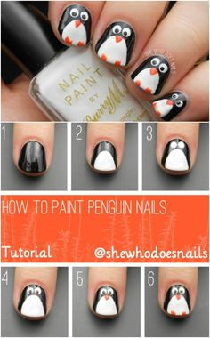 Cool DIY Nail Art Designs and Patterns for Christmas and Holidays - DIY Penguin . - Cool DIY Nail Art Designs and Patterns for Christmas and Holidays – DIY Penguin Nails – Do It Y - Diy Christmas Nail Art, Christmas Nail Art Designs, Holiday Nail Art, Christmas Trees, Green Christmas, Winter Christmas, Christmas Christmas, Xmas Nail Art, Christmas Manicure