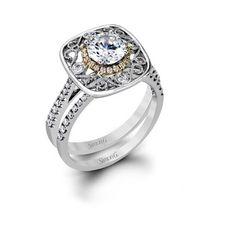 Simon G multi-shank diamond engagement ring