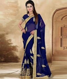 Buy Navy Blue Faux Georgette Party Wear Saree 73749 with blouse online at lowest price from vast collection of sarees at Indianclothstore.com.
